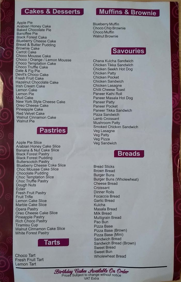 Pudding & Pie Menu and Price List for Punjabi Bagh West, New