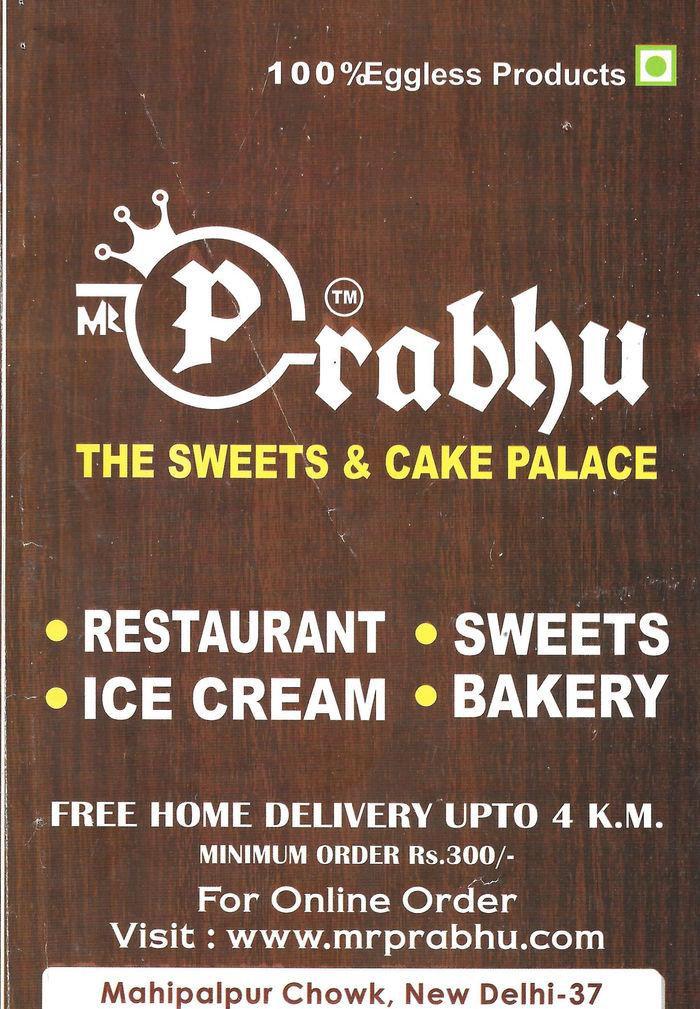 Prabhu Menu and Price List for Mahipalpur, New Delhi