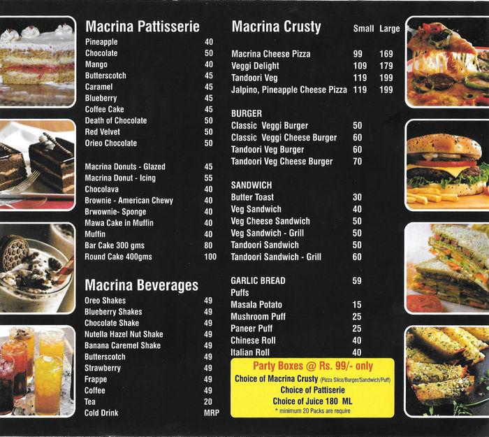 Macrina Patisserie Bakeshop Menu and Price List for Rohini