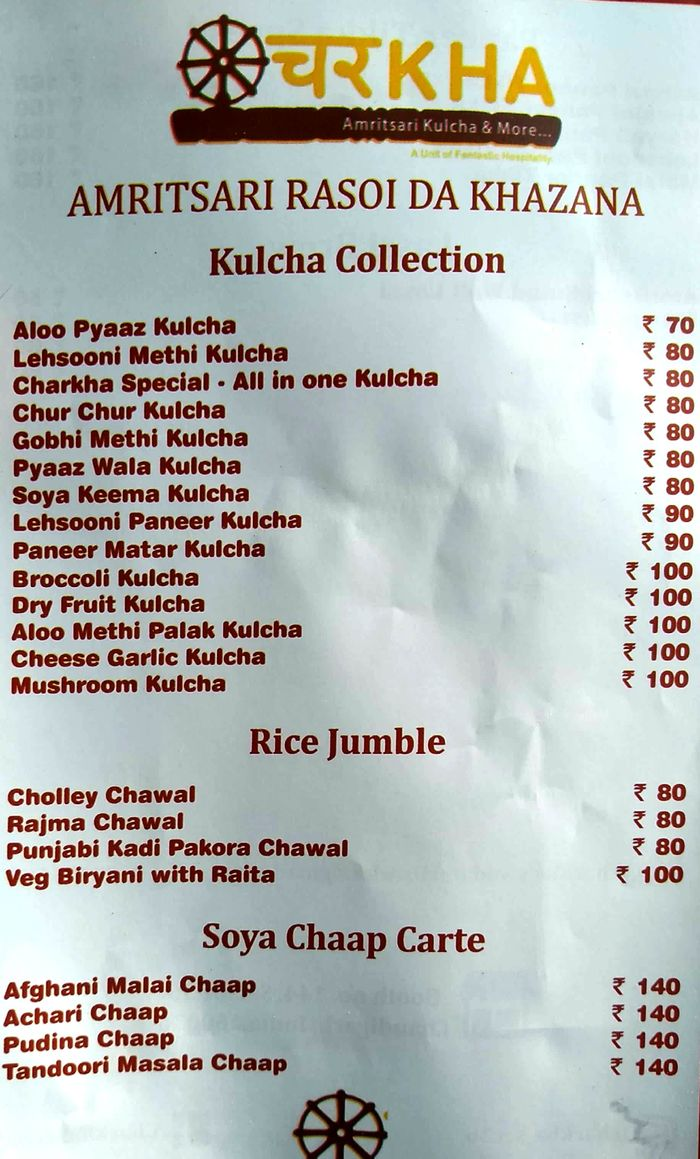 Charkha Menu and Price List for Sector 36D, Chandigarh