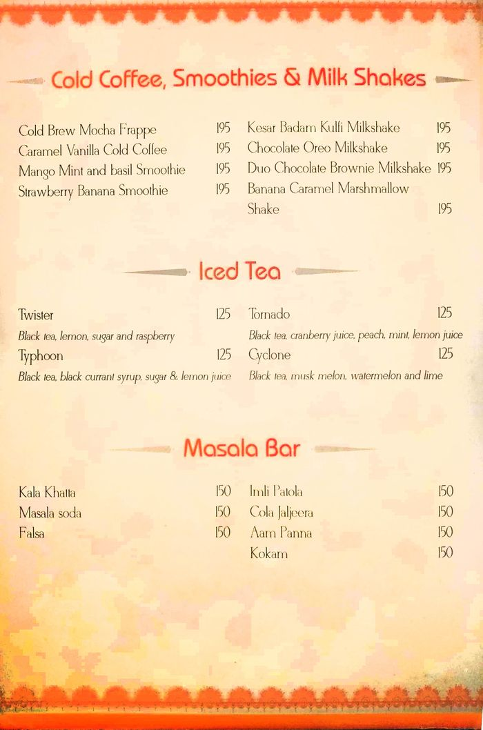 Band Baaja Baaraat Menu and Price List for Rajouri Garden