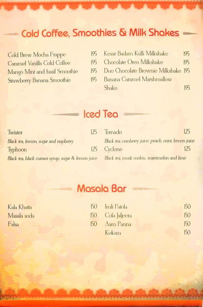 Band Baaja Baaraat Menu and Price List for Rajouri Garden