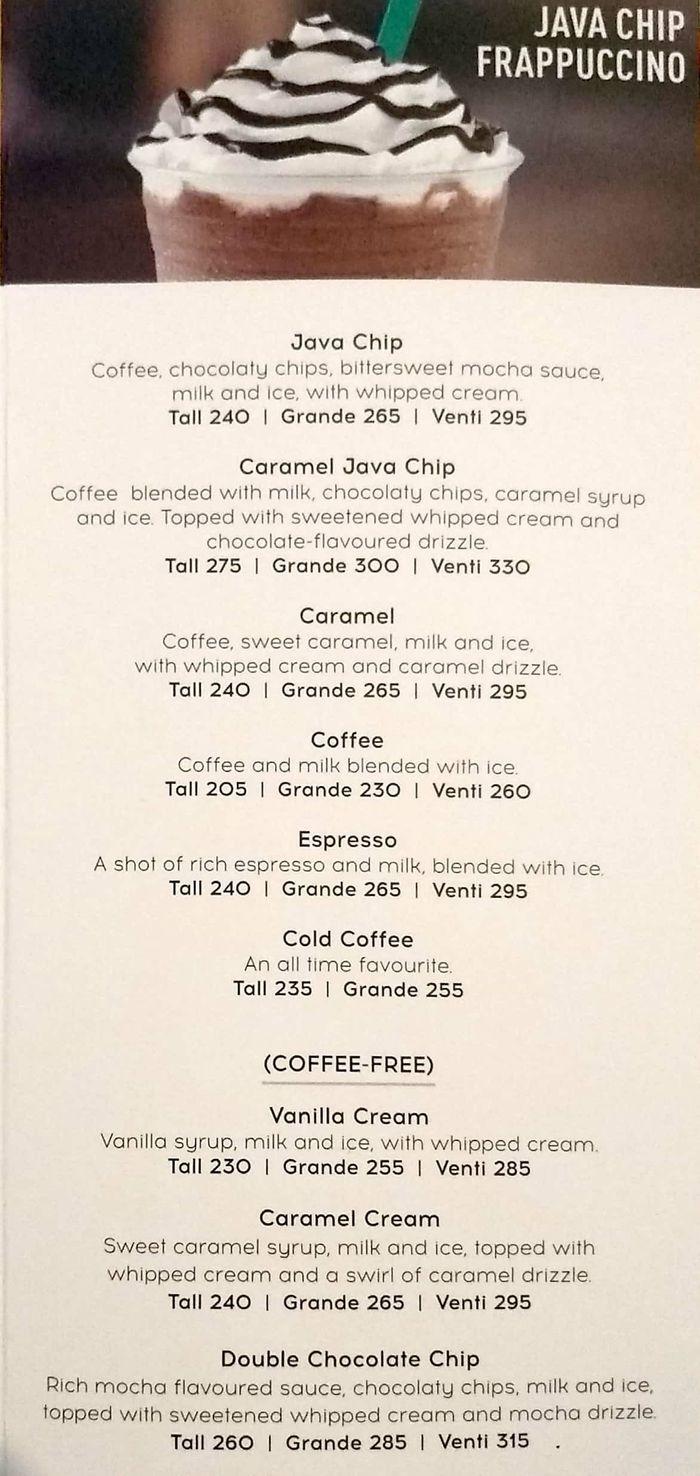 Starbucks Menu And Price List For Kemps Corner Mumbai