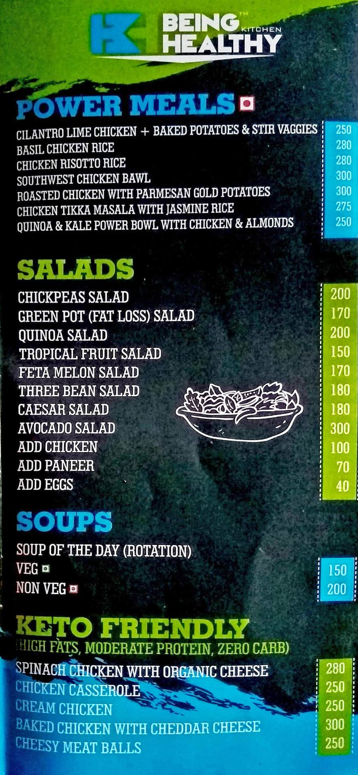 Being Healthy Kitchen Menu And Price List For Kalbadevi Mumbai Nearbuy Com