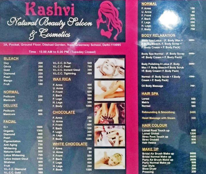 Kashvi Natural Beauty Parlour Menu and Price List for Hindan Barrage