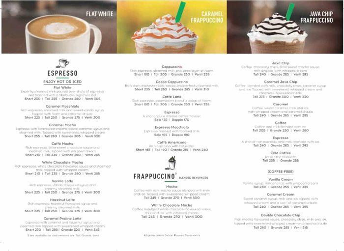 Starbucks Menu And Price List For Mulund West Mumbai