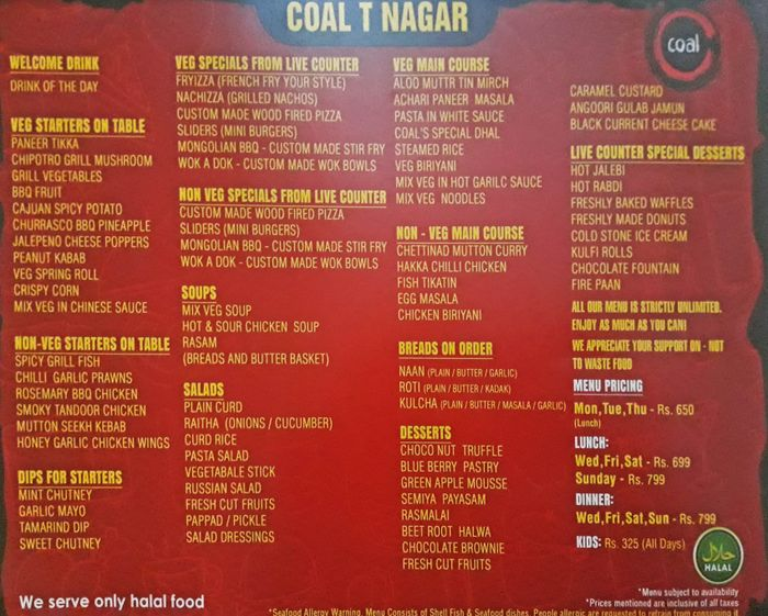 Coal Barbecues Menu and Price List for T Nagar, Chennai