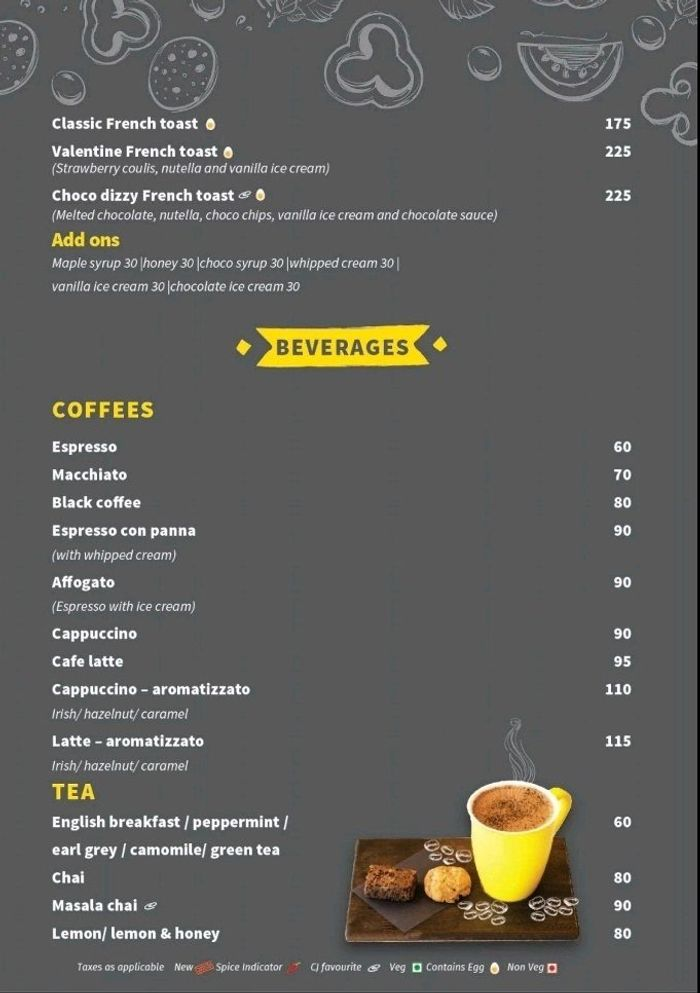 Coco Jaunt 1728 Menu and Price List for Teynampet, Chennai