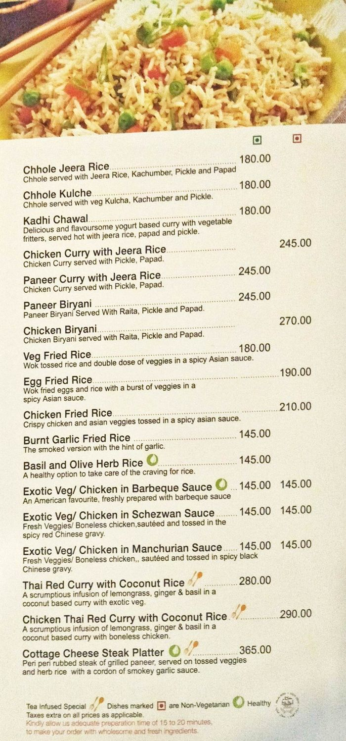 Tea Trails Menu And Price List For Nungambakkam Chennai