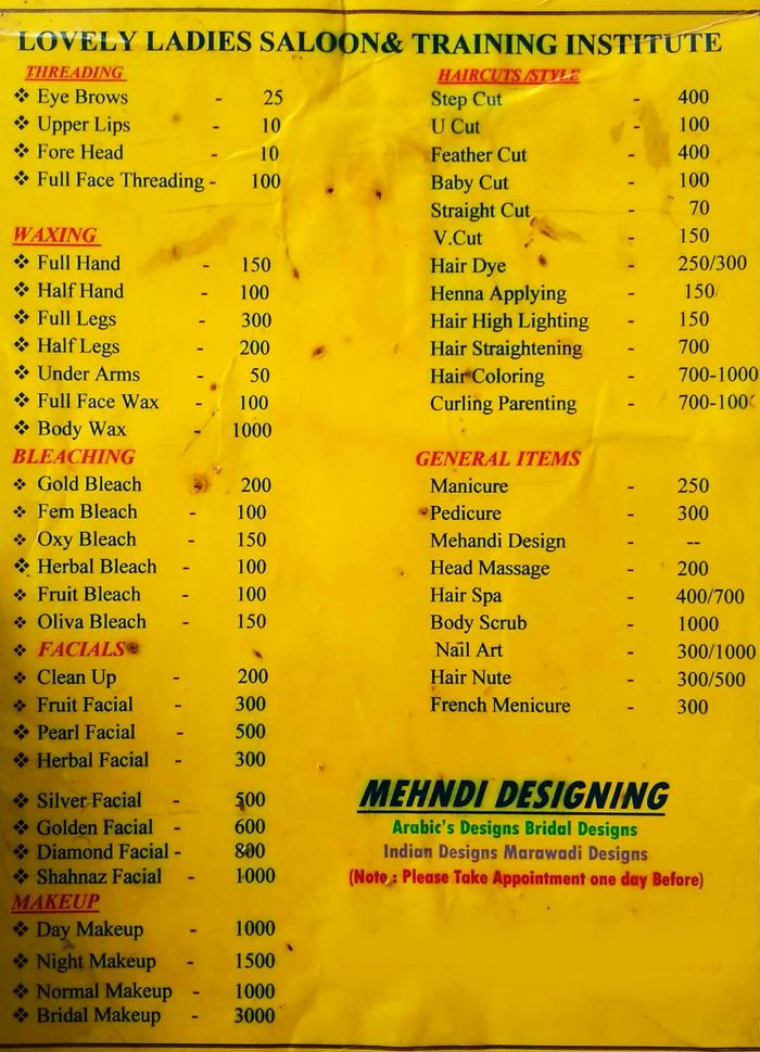 Lovely Beauty Parlour Menu and Price List for Happy Homes Colony, Hyderabad  | nearbuy.com
