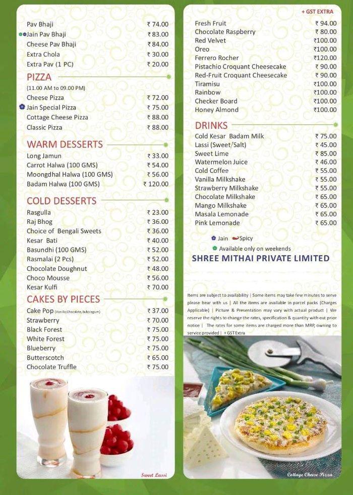 Shree Mithai Menu and Price List for Nungambakkam, Chennai