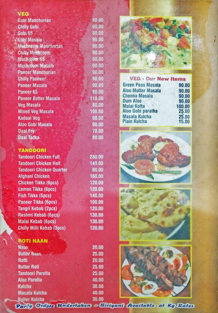 Thalapakattu Biriyani Menu and Price List for Poonamallee, Chennai